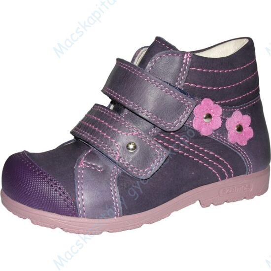 Szamos supinált, magasszárú gyerekcipő bőr béléssel, lila, virágos, 25-30.