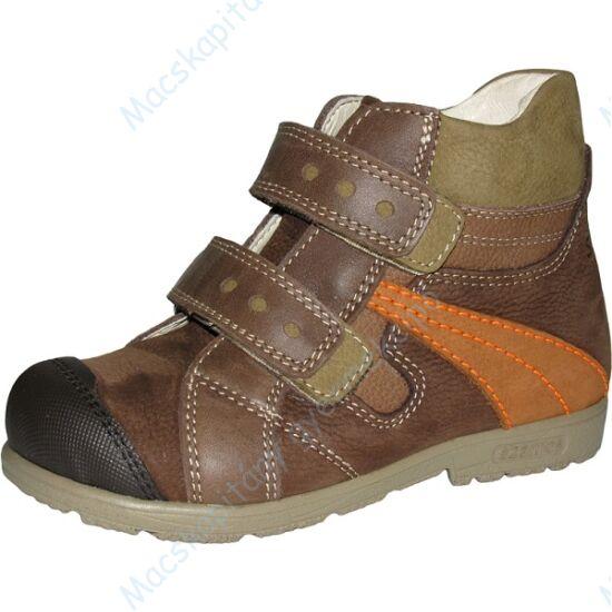 Szamos supinált, magasszárú gyerekcipő bőr béléssel, barna-narancs, 31-35.