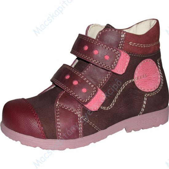 Szamos supinált, magasszárú gyerekcipő bőr béléssel, bordó, rózsaszín körrel, 25-30.
