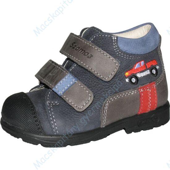 Szamos supinált gyerekcipő bőr béléssel, kék-szürke, piros autós, 19-24.