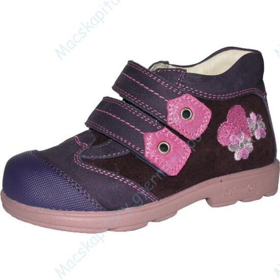 Szamos supinált átmeneti cipő bőr béléssel; lila-pink, virágos, szívecskés, 20-24.