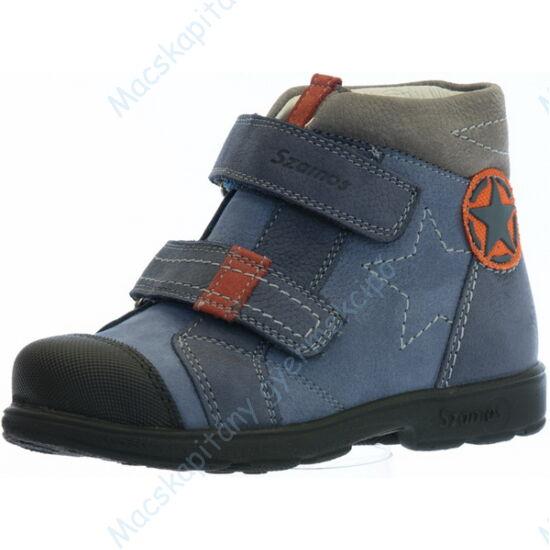 Szamos supinált, magasszárú gyerekcipő bőr béléssel; kék-narancs, 25-30.