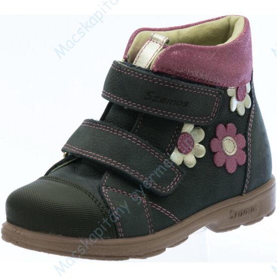 Szamos supinált, magasszárú gyerekcipő bőr béléssel; sötétkék, csillogó virág díszítéssel, 25-30.