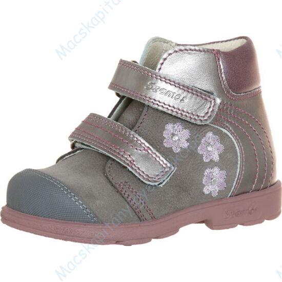 Szamos supinált, magasszárú gyerekcipő bőr béléssel; szürke-rózsaszín, virág hímzéssel, 25-30.