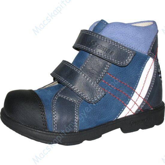 Szamos supinált, magasszárú gyerekcipő bőr béléssel, kék-fehér, zászlós, 25-30.
