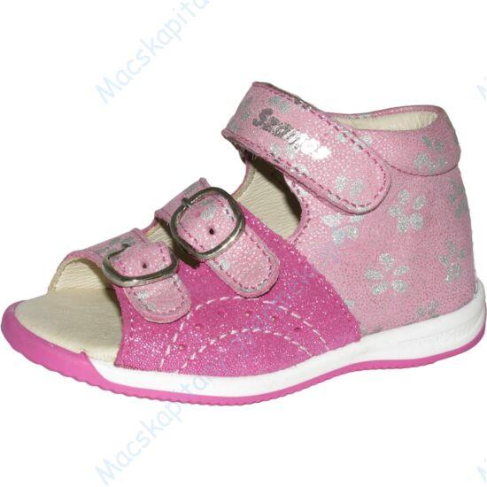 Szamos Kölyök első lépés babaszandál, pink, csillámos, virágos, 21-24.