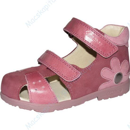 Szamos supinált, két tépőzáras, nyitott lányka cipő, rózsaszín-mályva, virágos, 19-24.
