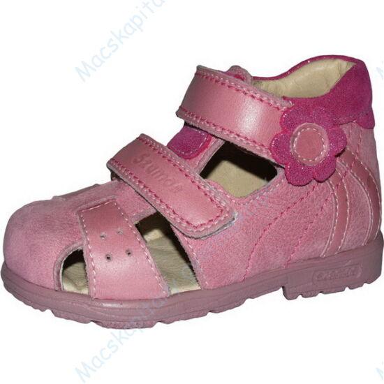 Szamos supinált, két tépőzáras, nyitott lányka cipő, rózsaszín, virágos, 19-24.