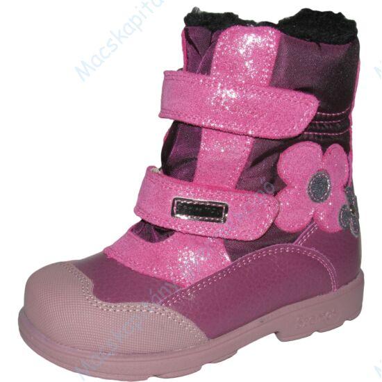 Szamos supinált, melegen bélelt, magasszárú bakancs, teljesen vízálló, padlizsán-pink, csillogó virággal, 25-30.
