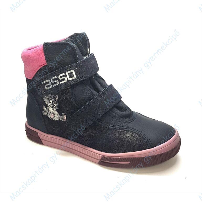 ASSO vízálló bundás cipő, navy-pink, cicás, 25-30.