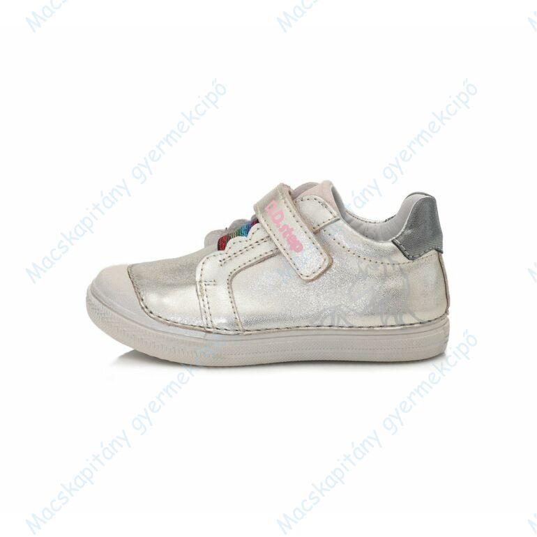 D.D.Step átmeneti  bőrcipő, ezüst, unikornisos, 25-30.