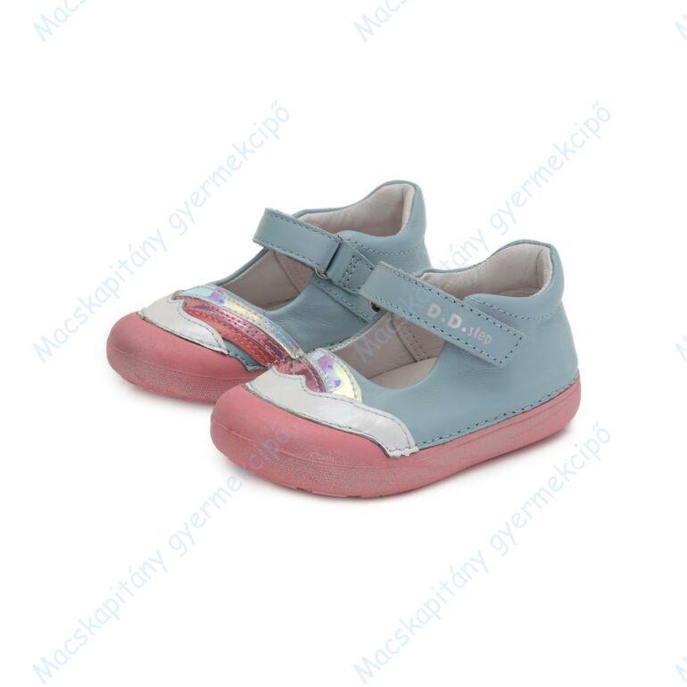 D.D.Step barefoot nyitott cipő, égkék-fehér-rózsa, 20-25.