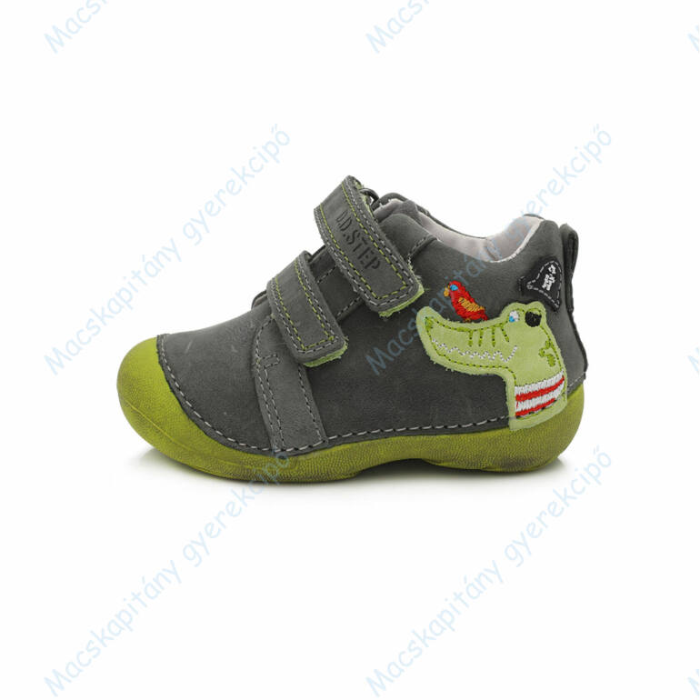 D.D.Step első lépés bőrcipő, szürke-zöld, krokodilos, 19-24.
