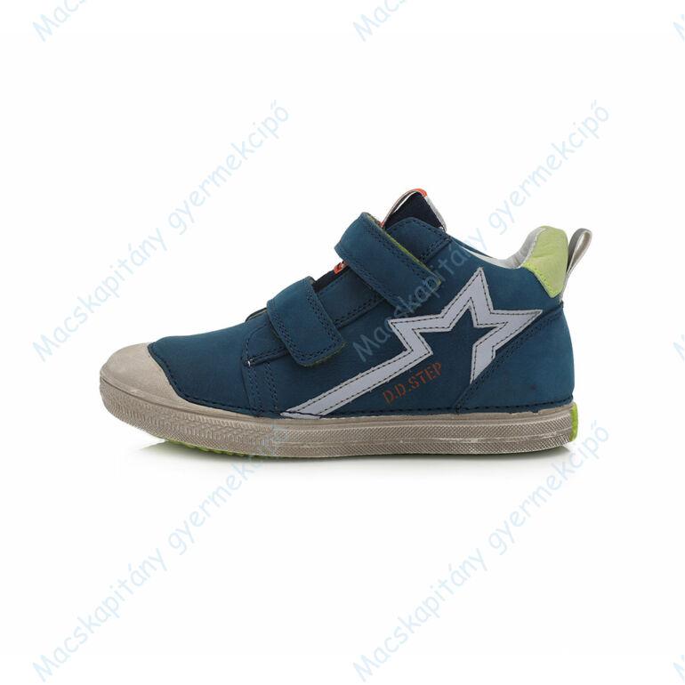 D.D.Step átmeneti  bőrcipő, kék-zöld, csillagos, 25-30.