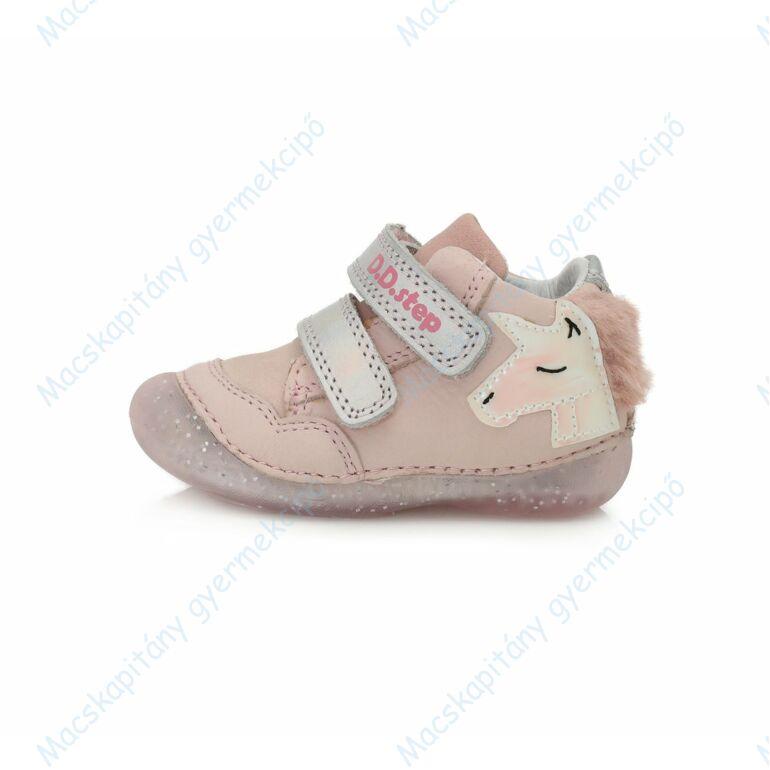 D.D.Step első lépés bőrcipő, rózsa-ezüst, unikornisos, 19-24.