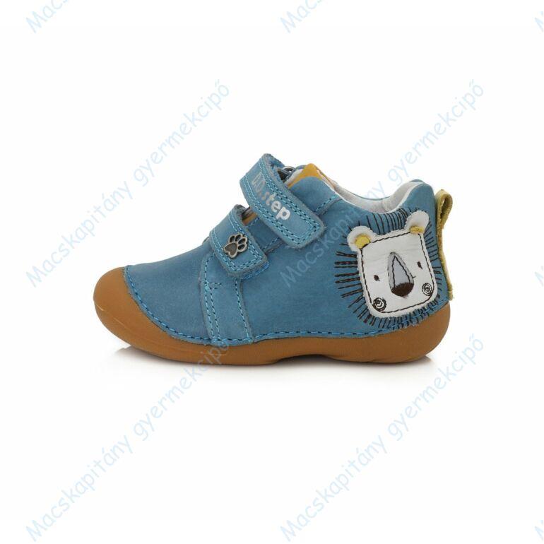 D.D.Step első lépés bőrcipő, kék-sárga, oroszlános, 19-24.