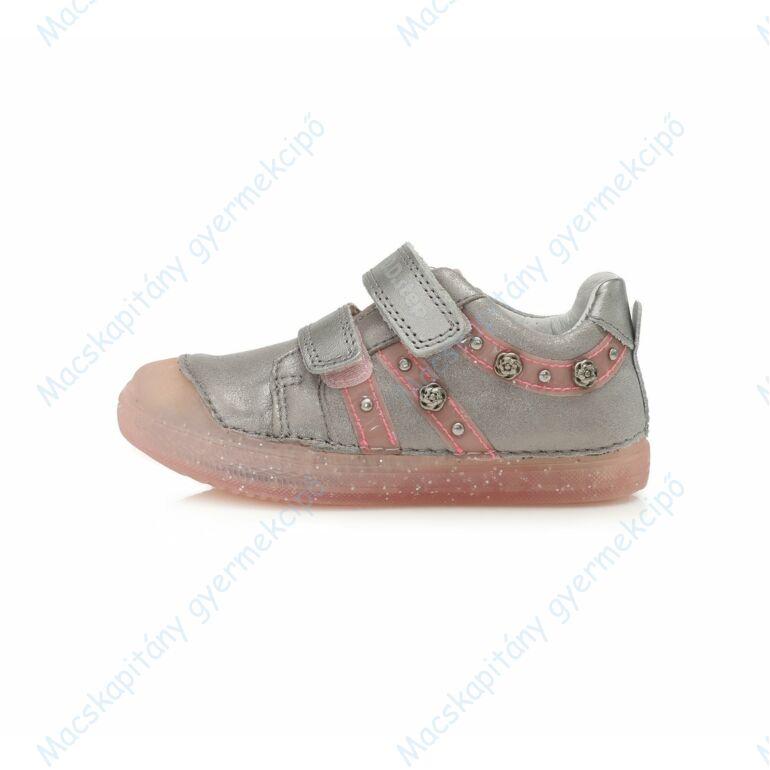 D.D.Step átmeneti bőrcipő, szürke-rózsa, 25-30.