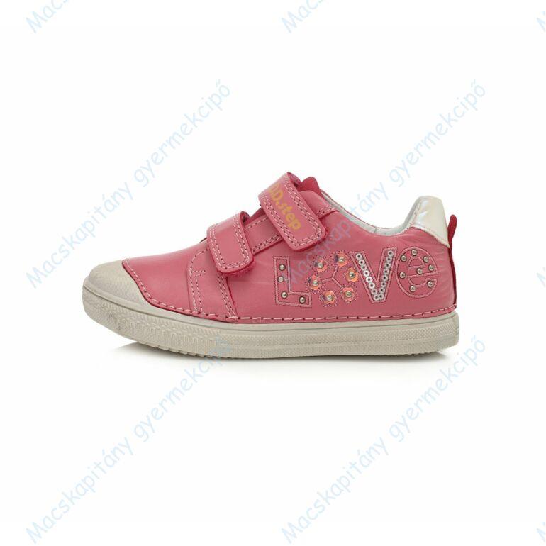 D.D.Step átmeneti bőrcipő, pink, LOVE mintás, 25-30.