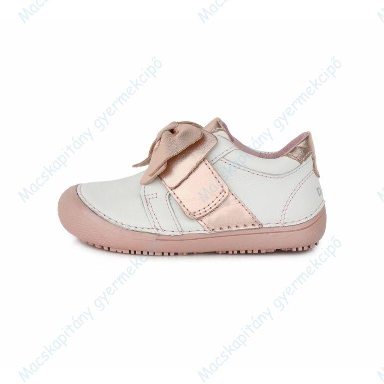 D.D.Step barefoot átmeneti cipő, fehér-rose gold, masnis, 25-30.