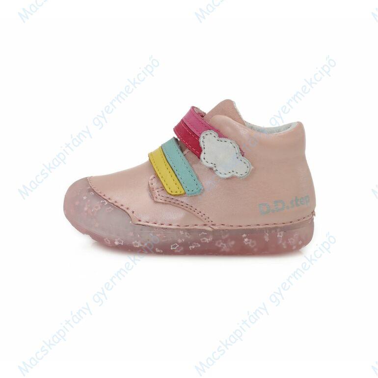 D.D.Step átmeneti bőrcipő, rózsa, szivárványos, 20-25.