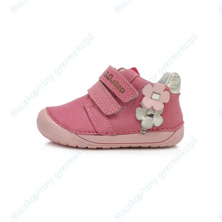 D.D.Step barefoot átmeneti cipő, pink-pezsgő virágos, 20-25.