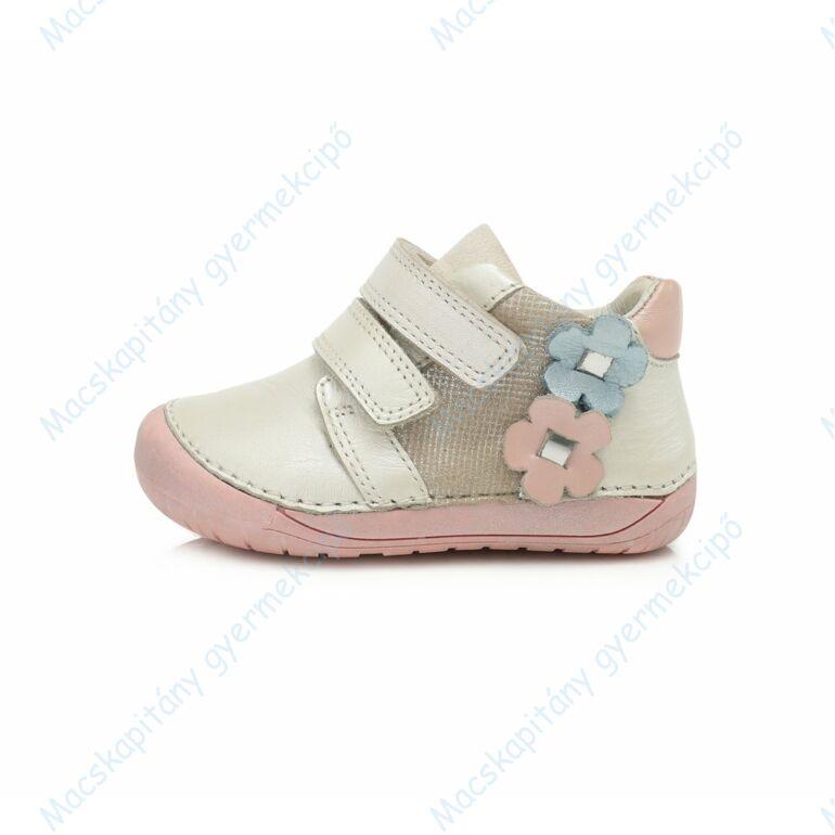D.D.Step barefoot átmeneti cipő, krém-rózsa, virágos, 20-25.