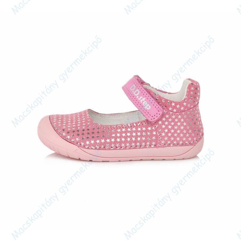 D.D.Step barefoot nyitott cipő, pink, ezüst csillagokkal, 20-25.