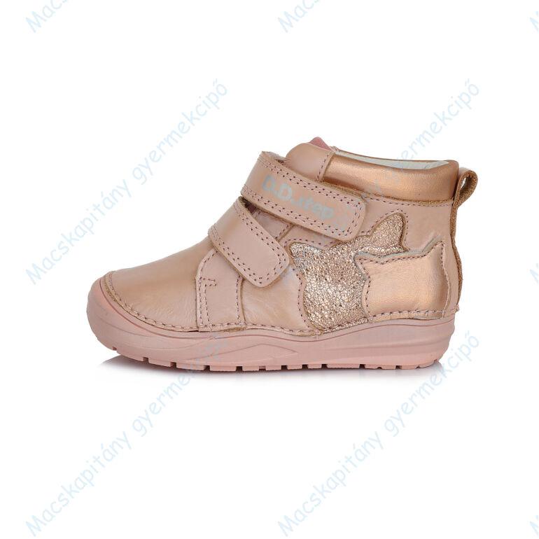 D.D.Step átmeneti bőrcipő, rózsa-pezsgő, cicás, 20, 21, 22, 23, 24, 25.