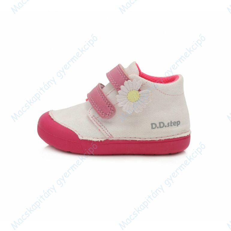 D.D.Step vászon bokacipő, fehér-pink, 20-25.
