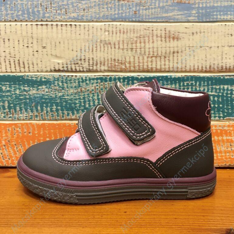 ASSO bőr gyerekcipő két tépőzárral, bőr béléssel; rózsaszín-fekete, 24