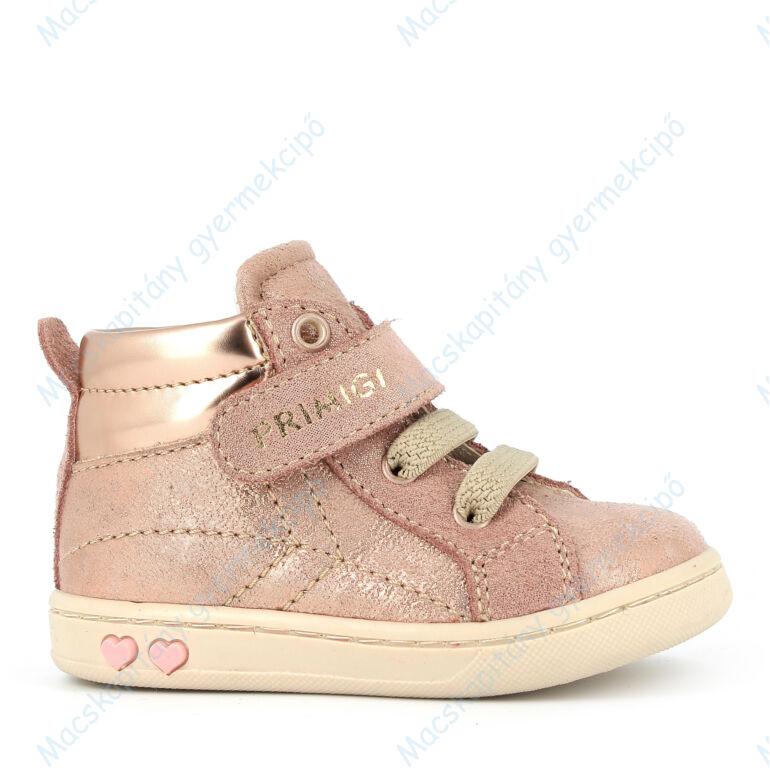 Primigi átmeneti bőrcipő elasztikus fűzővel és tépőzárral, rose gold, 21-26.