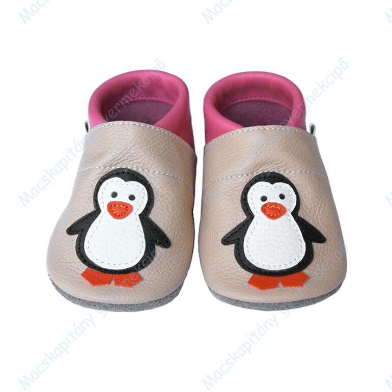 Puhatalpú bőr bébicipő, púder-pink, pingvines.