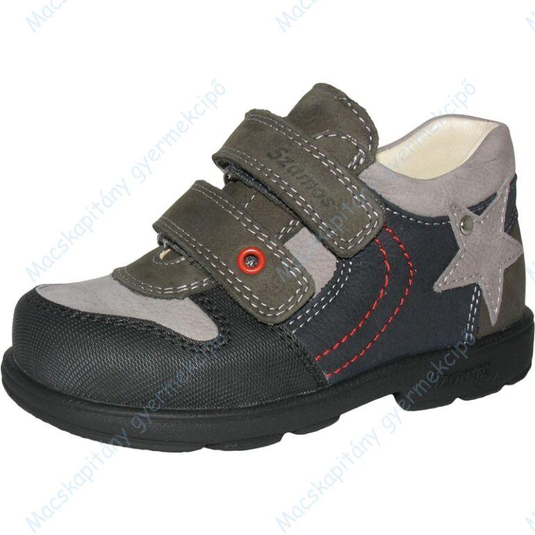 Szamos supinált átmeneti bőrcipő, szürke-antracit, 31-35.