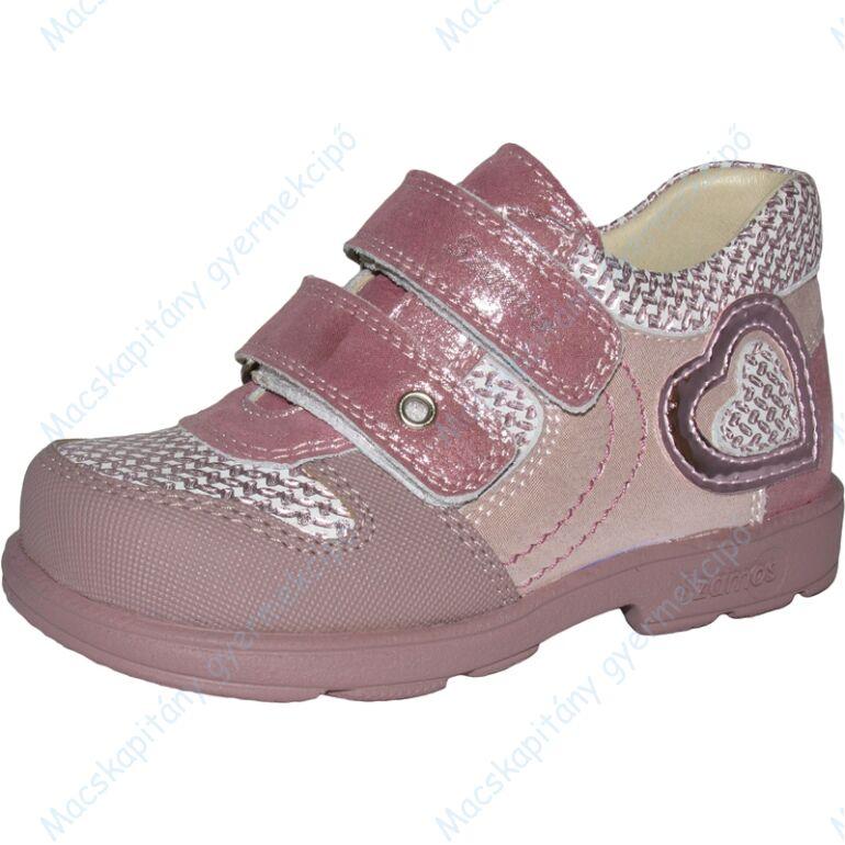 Szamos supinált átmeneti bőrcipő, rózsaszín-pezsgő, szívecskés, 31-33.