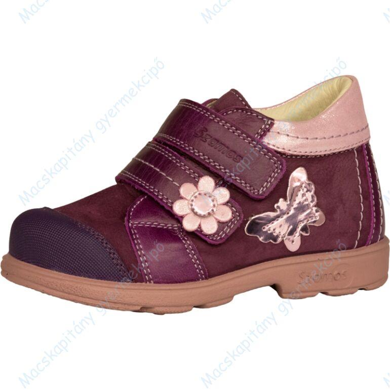 Szamos supinált átmeneti bőrcipő, lila-rózsa, pillangós, 28-30.