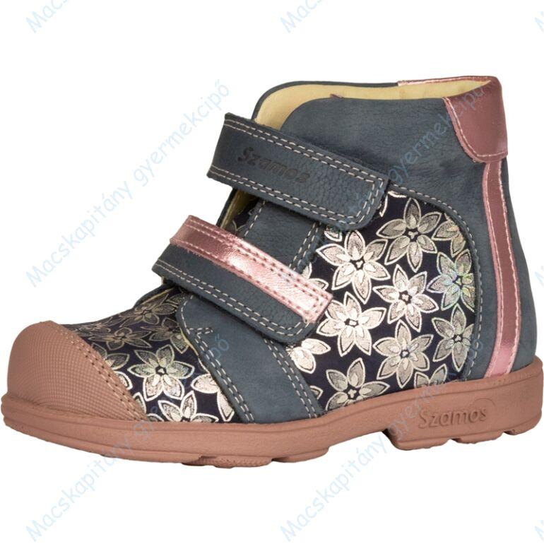Szamos supinált átmeneti bőrcipő, kék-rózsaszín, virágmintás, 25-30.