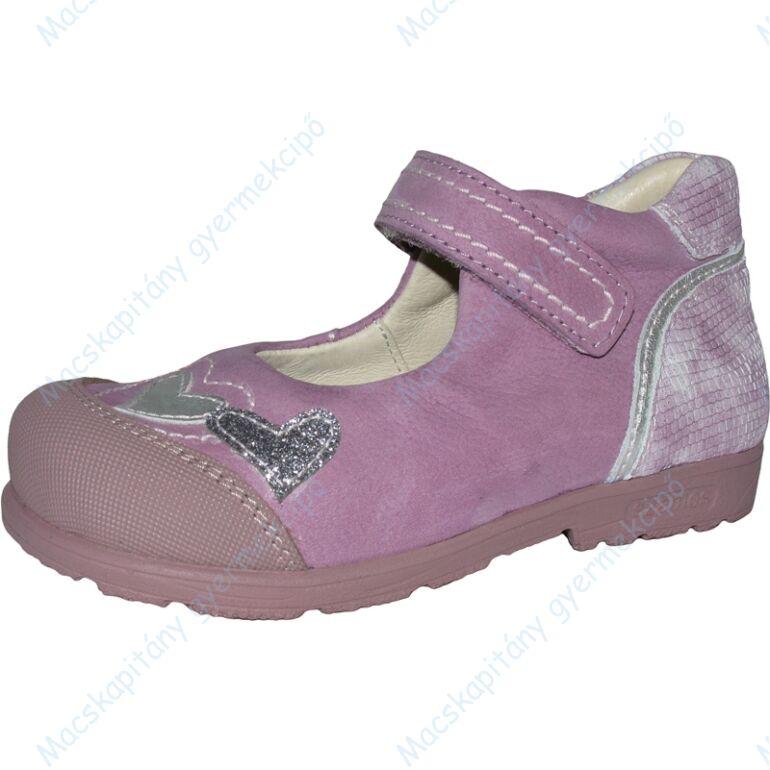 Szamos supinált bőr balerina cipő, orgona-ezüst, szívecskés, 25-30.