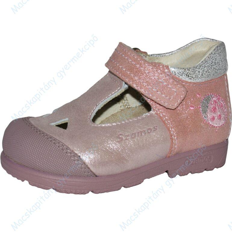 Szamos supinált nyitott cipő, rózsaszín-pezsgő, katicás, 21-24.
