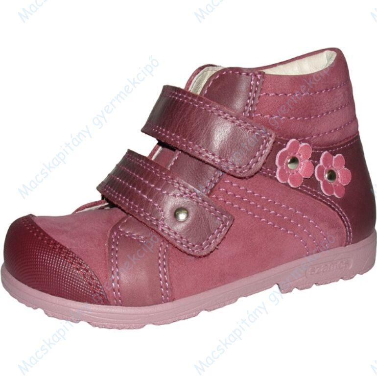 Szamos supinált átmeneti bőrcipő, mályva, virágos, 31-35.