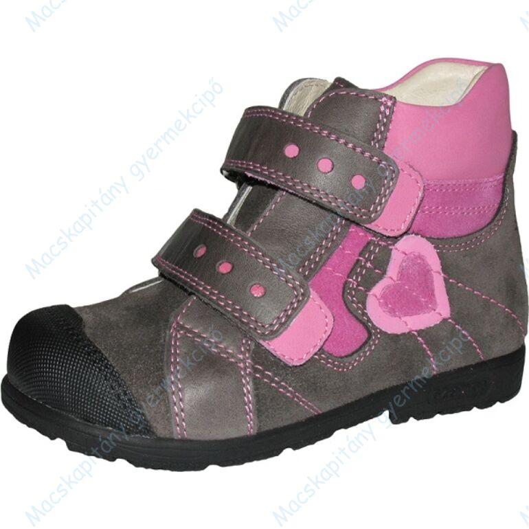 Szamos supinált átmeneti bőrcipő, szürke-pink, szívecskés, 31-35.
