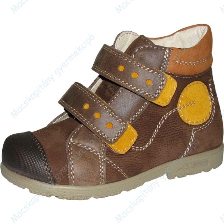 Szamos supinált átmeneti bőrcipő, barna-okker, 31-35.