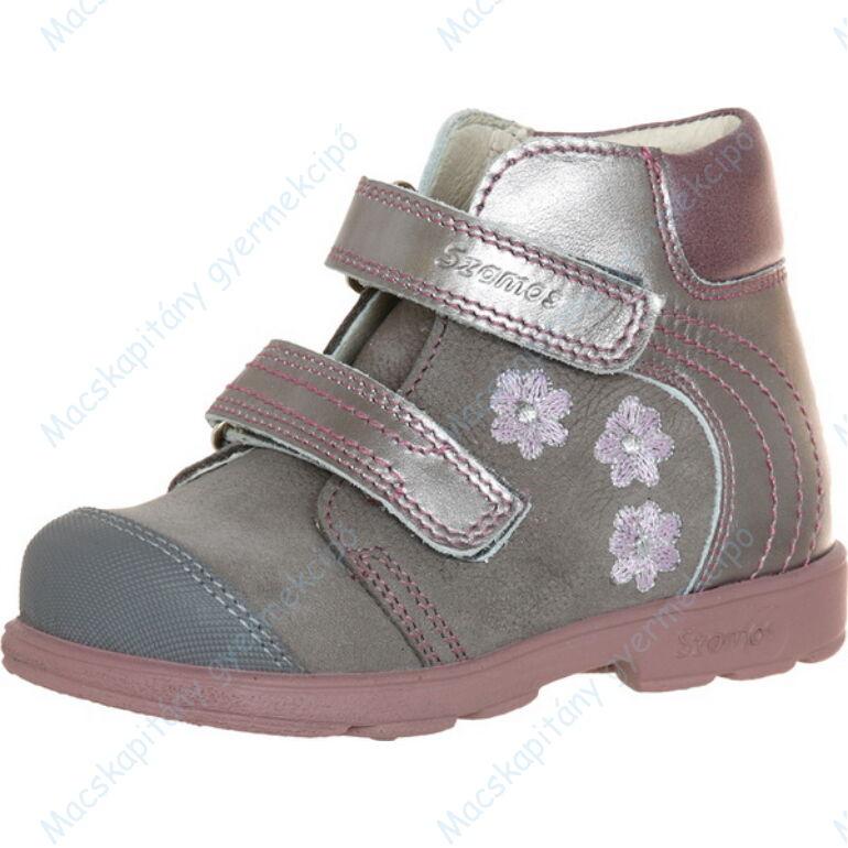Szamos supinált átmeneti bőrcipő, szürke-mályva, virágos, 31-35.