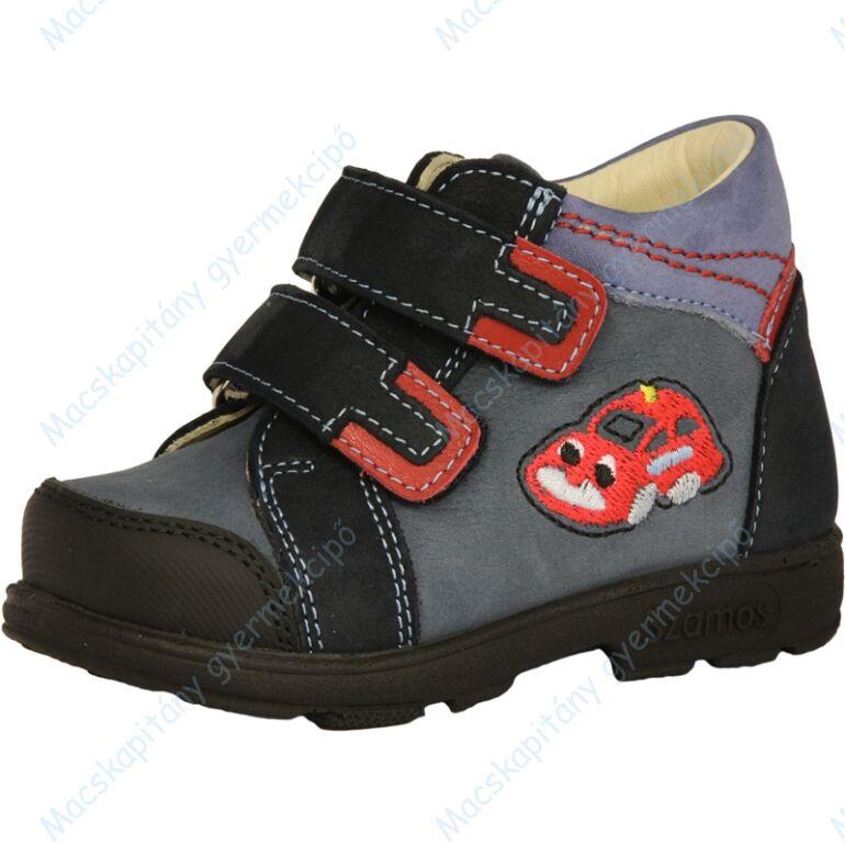 Szamos supinált átmeneti bőrcipő, sötétkék-piros, autós, 21-24.