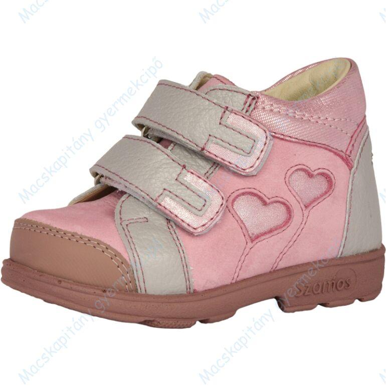 Szamos supinált átmeneti bőrcipő, rózsaszín-szürke, szívecskés, 21-24.