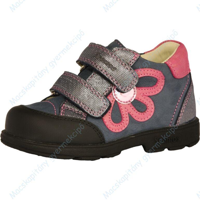 Szamos supinált átmeneti bőrcipő, kék-szürke-pink, virágos, 25-30.