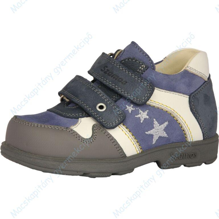 Szamos supinált átmeneti bőrcipő, kék-fehér, csillagos, 31-35.