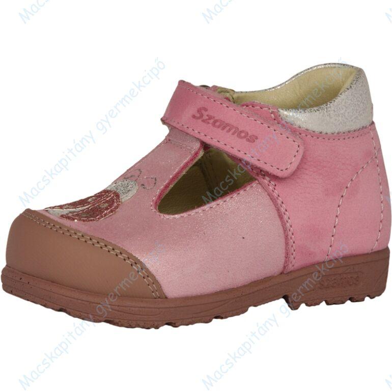 Szamos supinált nyitott cipő, rózsaszín, katicás, 21-24.