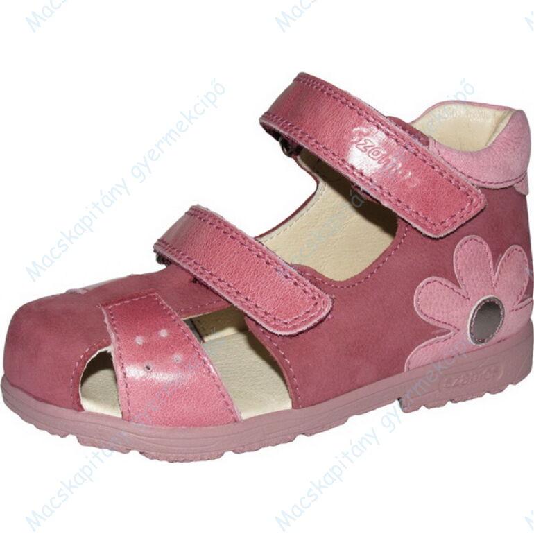Szamos supinált, két tépőzáras, nyitott lányka cipő, rózsaszín-mályva, virágos, 25-30.