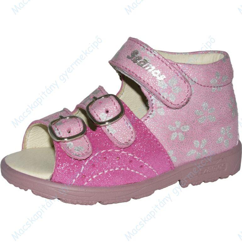 Szamos supinált gyerekszandál két csattal és egy tépőzárral, pink, csillámos, virágos, 20-24.