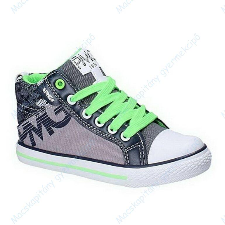 Primigi magasszárú vászon tornacipő bőr lépésbetéttel; szürke-zöld, fehér és zöld cipőfűzővel, 28-37.